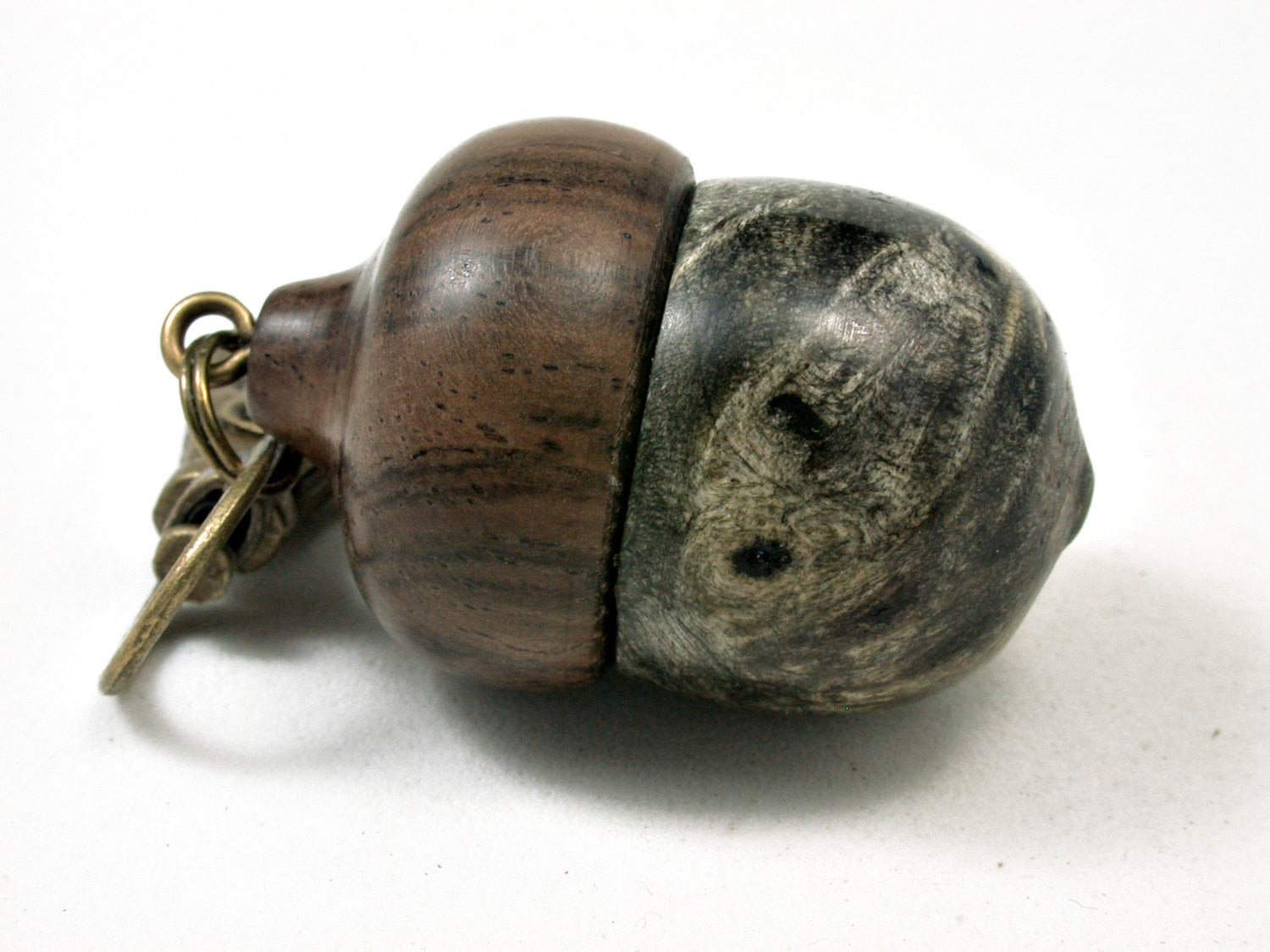 LV-2213 Buckeye Burl & Leadwood Acorn Pendant Box, Charm, Pill Holder-SCREW CAP