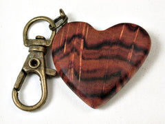 LV-2237 Tulipwood Wooden Heart Charm, Keychain, Wedding, Valentine Gift-HAND CARVED
