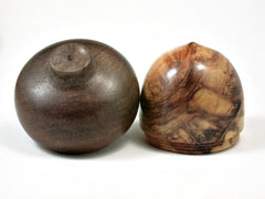 LV-2225 Quaking Aspen & Black Walnut Acorn Jewelry Box, Pill Box, Trinket Box-SCREW CAP