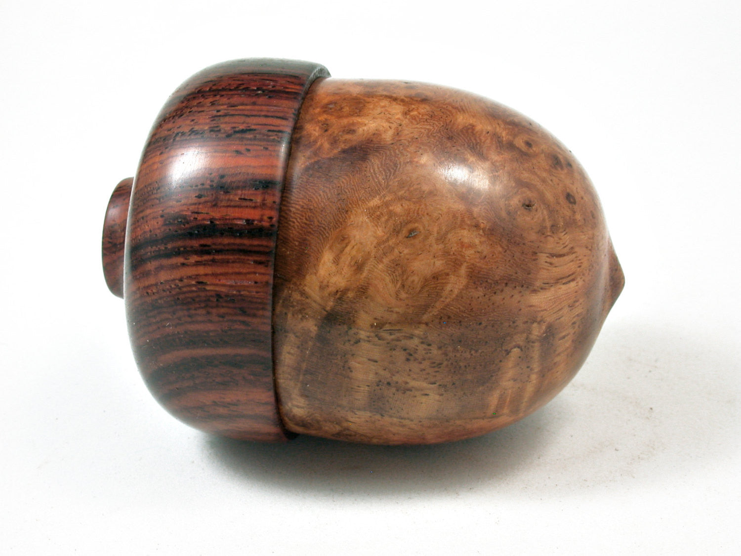 LV-2229 Maidou Burl & Cocobolo Acorn Jewelry Box, Pill Box, Trinket Box-SCREW CAP