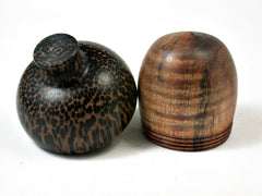LV-2251 Curly Koa & Black Palm Acorn Jewelry, Ring Box, Pill Box, Trinket Box-SCREW CAP