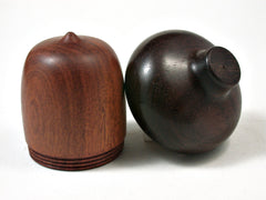 LV-2253 Pernambuco & Brazilian Rosewood Acorn Jewelry, Ring Box, Pill Box, Trinket Box-SCREW CAP