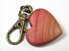 LV-2230 Pink Ivory Wooden Heart Charm, Keychain, Wedding, Valentine Gift-HAND CARVED