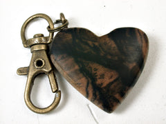 LV-2243 Black & White Ebony Wooden Heart Charm, Keychain, Wedding, Valentine Gift-HAND CARVED