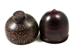 Reserved for Mary: LV-2256 Bois de Rose & Black Palm Acorn Jewelry, Ring Box, Pill Box, Trinket Box-SCREW CAP