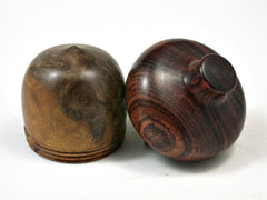 LV-2262 Nargusta Burl & Cocobolo Acorn Jewelry, Ring Box, Pill Box, Trinket Box-SCREW CAP