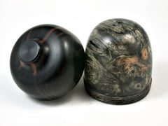 LV-2276  Buckeye Burl & Mun Ebony Acorn Trinket Box, Keepsakes, Jewelry Box-SCREW CAP