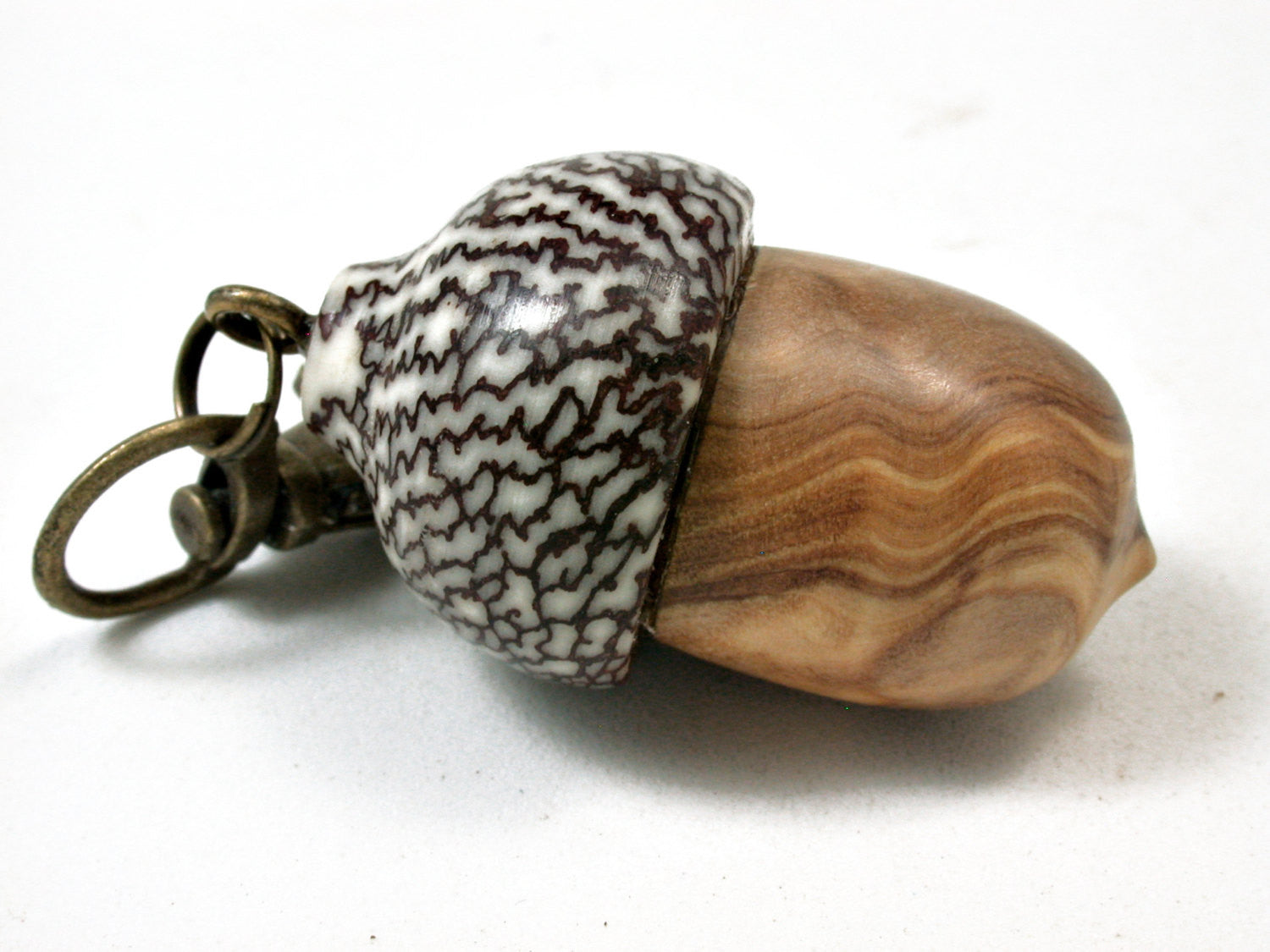 LV-2289 Olive Burl & Betelnut Acorn Pendant Box, Charm, Pill Holder-SCREW CAP