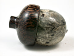 LV-2300 Buckeye Burl & Black Palm Acorn Jewelry, Ring Box, Pill Box, Threaded Urn