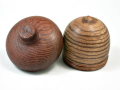 LV-2318 Zebrawood & Leopardwood Acorn Jewelry, Ring Box, Pill Box, Trinket Box-SCREW CAP