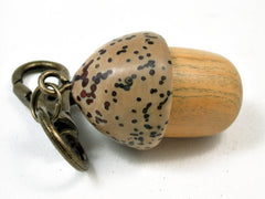 LV-2267 Lignum vitae Sapwood & Yollilo Palm Nut Acorn Pendant Box, Charm, Pill Holder-SCREW CAP