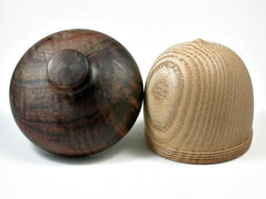 Reserved for Mary:  LV-2323 Sassafras & Black Walnut Burl Acorn Jewelry, Ring Box, Pill Box-SCREW CAP