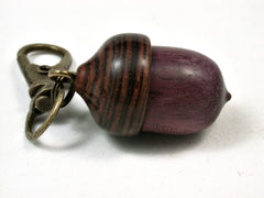 LV-2340 Acorn Pendant Box, Charm, Pill Holder from Purpleheart & Cocobolo-SCREW CAP