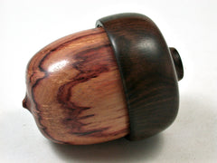 LV-2387 Tulipwood Burl & Ebony Acorn Jewelry Box, Pill Box, Trinket Box-SCREW CAP