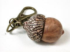 LV-2414 Yellow Box Burl & Betelnut Acorn Pendant Box, Bag Charm, Keychain-SCREW CAP