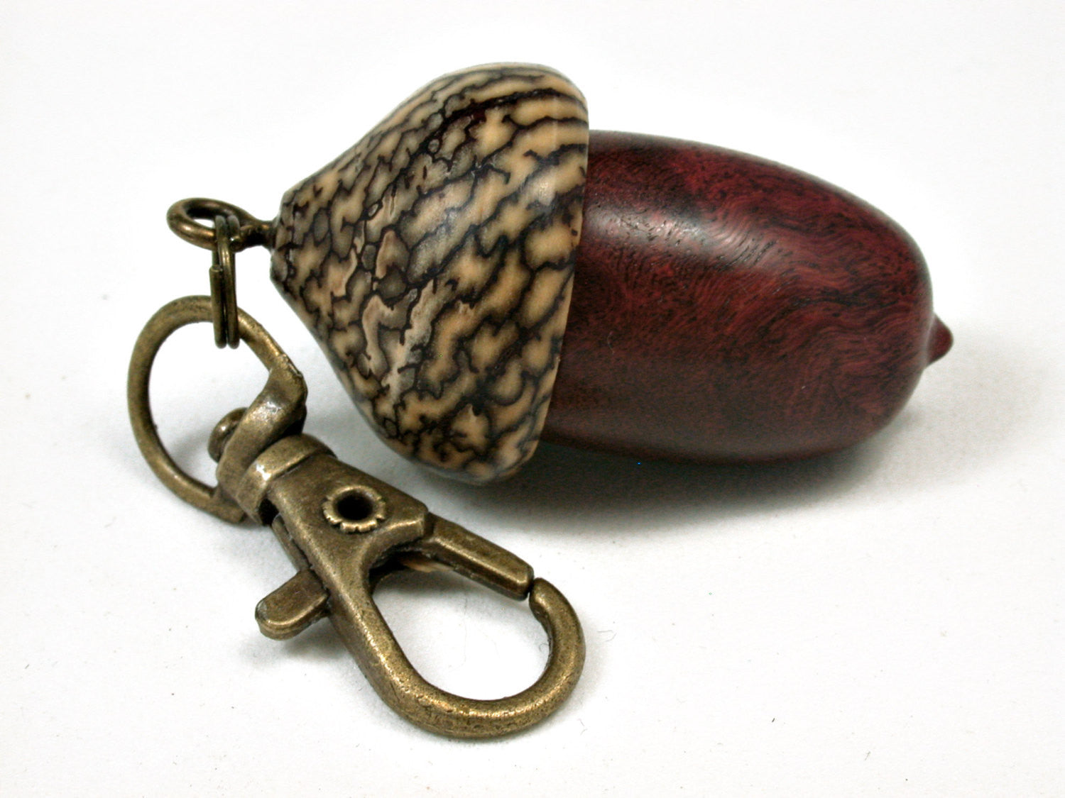 LV-2443 Logwood Burl & Betelnut Acorn Pendant Box, Bag Charm, Keychain-SCREW CAP