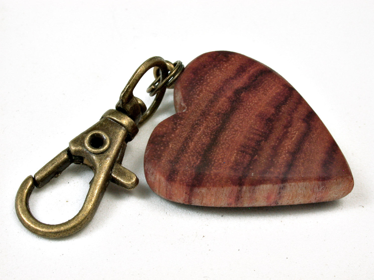 LV-2453 Tulipwood Wooden Heart Charm, Keychain, Wedding, Anniversary Gift-Hand Made