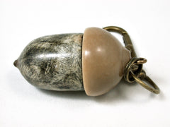 LV-2420 Buckeye Burl & Miriti Nut Acorn Pendant Box, Charm, Pill Holder-SCREW CAP