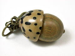 LV-2430 Verawood & Raphia Nut Acorn Pendant Box, Charm, Pill Holder-SCREW CAP