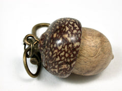 LV-2449 B and W Ebony Burl & Betelnut Acorn Pendant Box, Bag Charm, Keychain-SCREW CAP