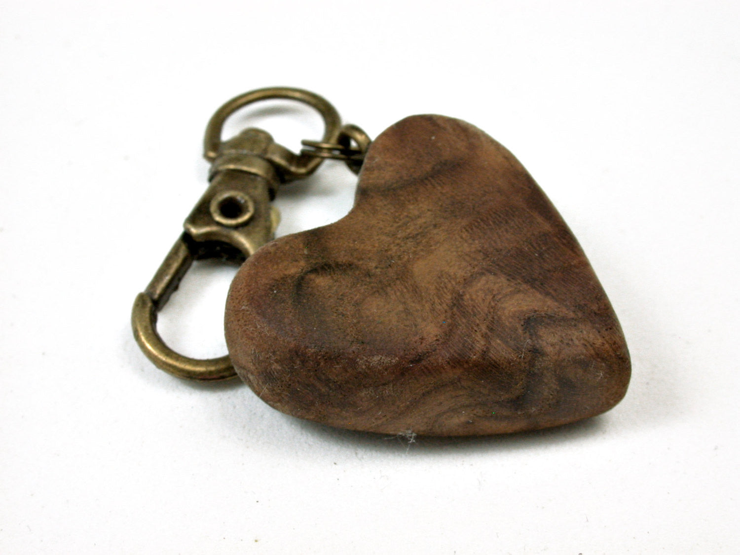 LV-2458 Russian Olive Burl Wooden Heart Charm, Keychain, Wedding Favor-Hand Made