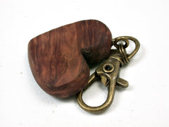 LV-2466 Australian Red Mallee Burl Wooden Heart Charm, Keychain, Wedding Favor-Hand Made