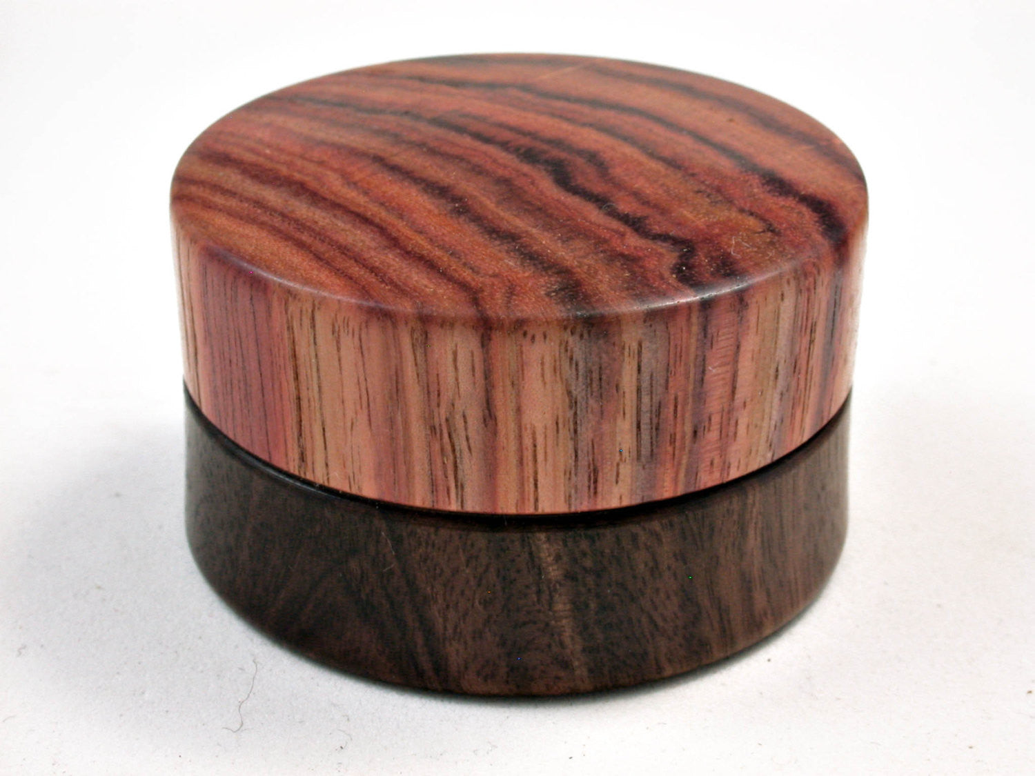 LV-2499 Mun Ebony & Tulipwood Flat Pill Box, Ring Holder, Jewelry Box-SCREW CAP