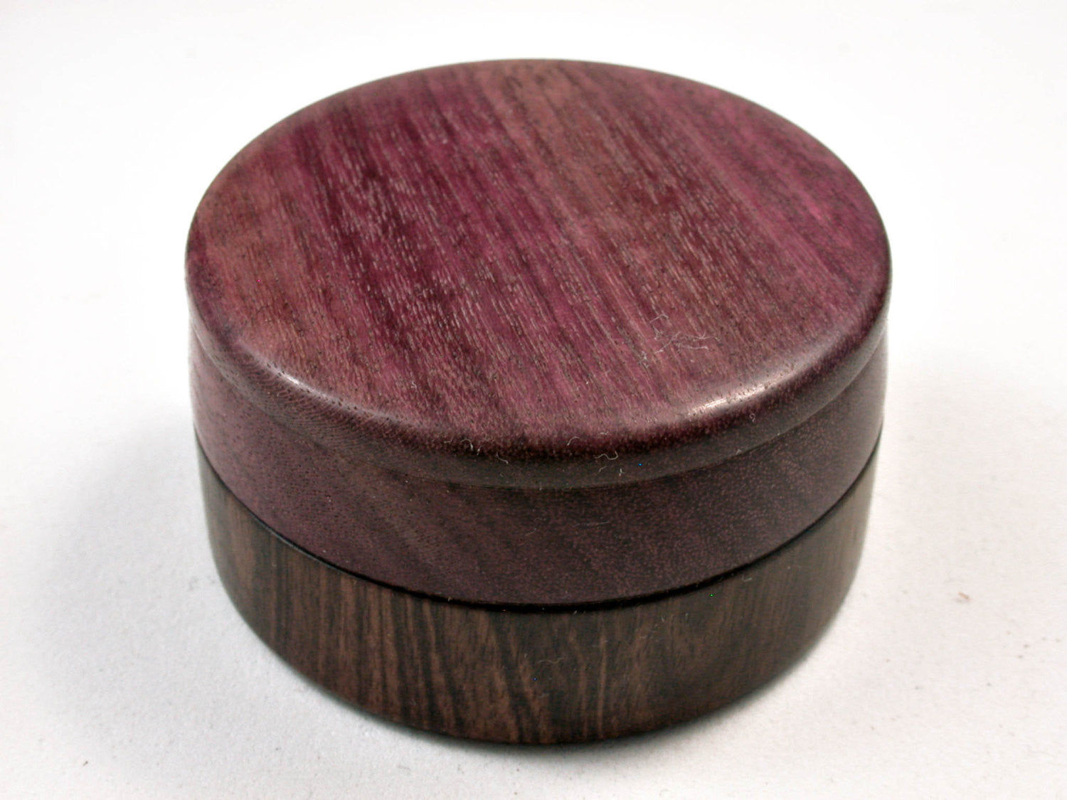 LV-2500 Mun Ebony & Purpleheart Flat Pill Box, Ring Holder, Jewelry Box-SCREW CAP