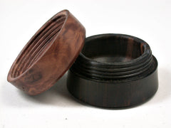 LV-2502 Mun Ebony & Red Mallee Burl Flat Pill Box, Ring, Jewelry Box-SCREW CAP