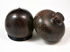 LV-2511 Mun Ebony & Black Palm Acorn Jewelry, Ring Box, Pill Box-SCREW CAP