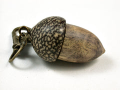 LV-2570 B-W Ebony Burl & Betelnut Acorn Pendant Box, Bag Charm, Keychain-SCREW CAP