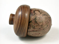 LV-2561 Papaturro Burl & Tamboti Acorn Jewelry, Ring Box, Pill Box-SCREW CAP