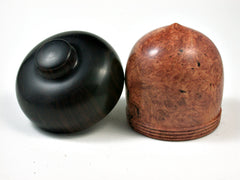 LV-2583 Amboyna Burl & Ebony Acorn Jewelry, Ring Box, Pill Box-SCREW CAP