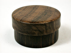 LV-1617 Mun Ebony & Walnut Flat Pill Box, Snuff Box, Ring Holder, Trinket Box-SCREW CAP