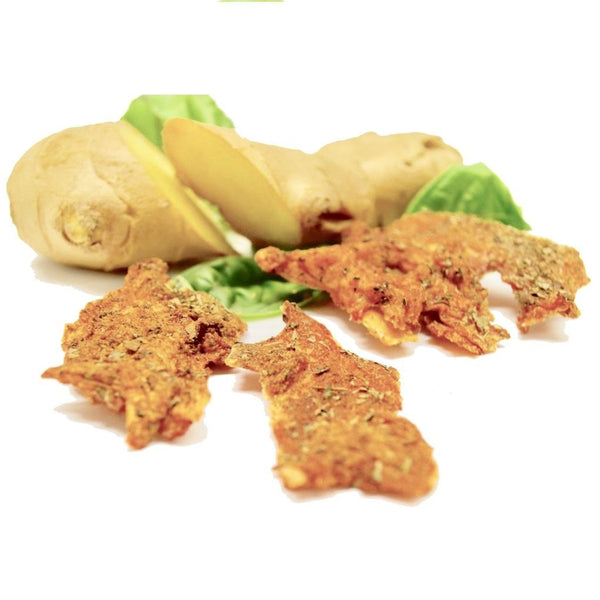 Cluck-Cluck Thai (Ginger & Basil Chicken Brittle For Dogs) 3 Oz Dog Treats