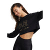 PE Nation Black Metallic Cropped Heads Up Sweat