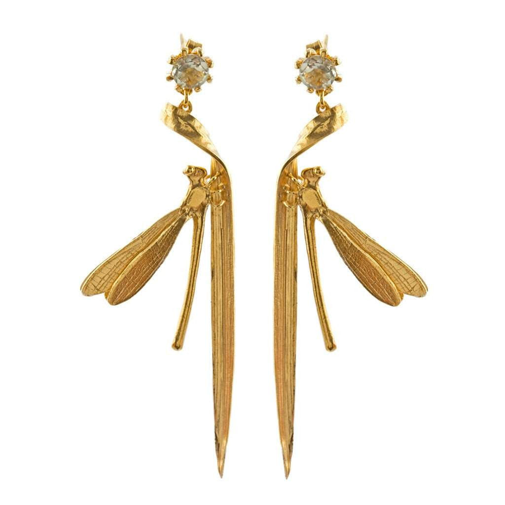 Alex Monroe Damsel Fly & Grassblade Green Amethyst Drop Earrings