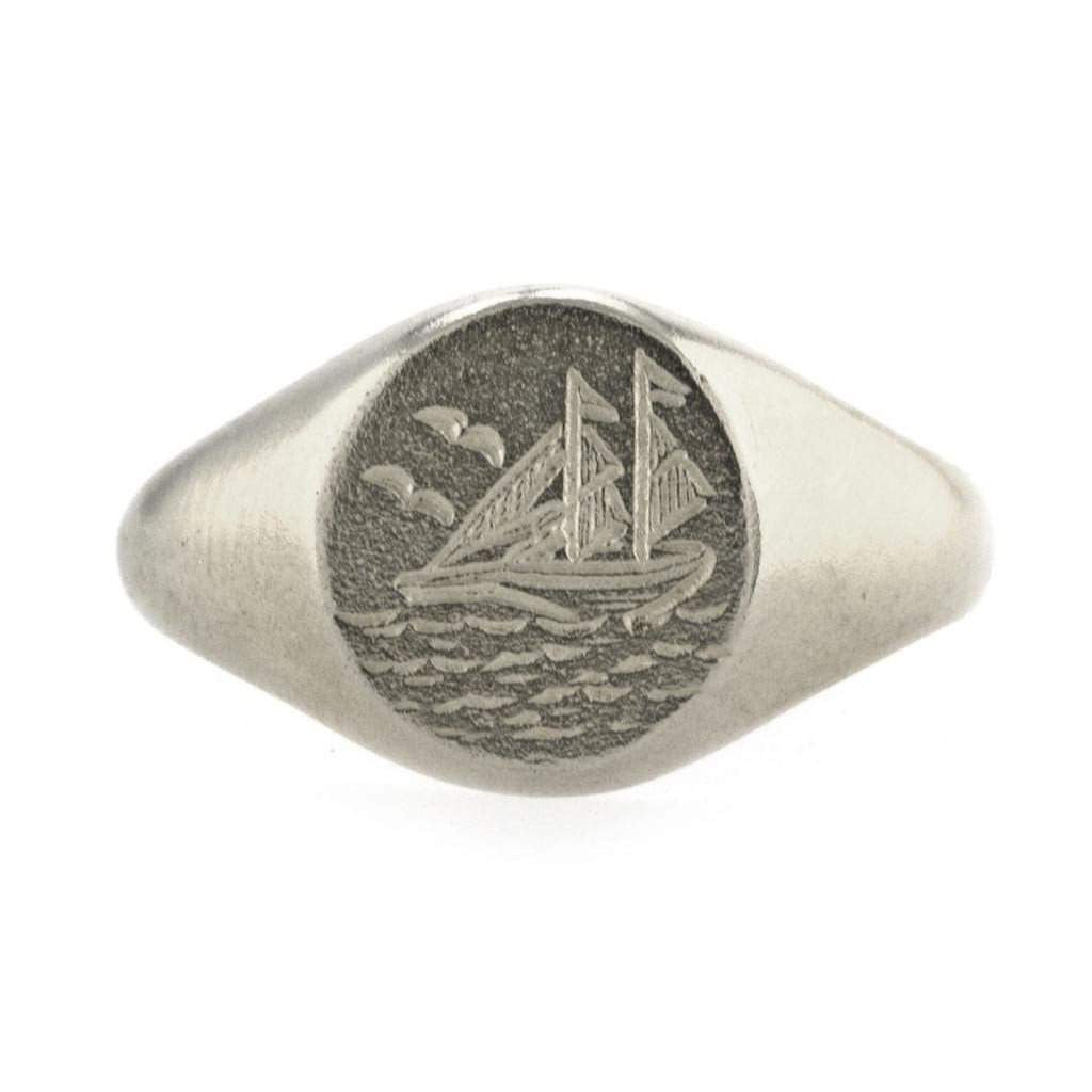 Alex Monroe Ship At Sea Signet Ring with Engraving, Silver