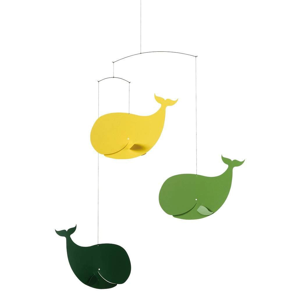 Flensted Green/Yellow Happy Whales Mobile