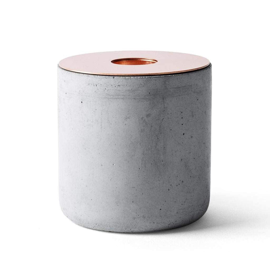 Menu Chunk Candle Holder Concrete and Copper 7.5cm