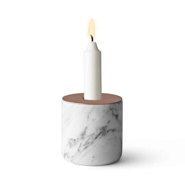 Menu Chunk Candle Holder Marble and Copper 7.5cm