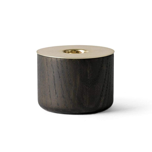 Menu Chunk Candle Holder Wood and Brass 5.5cm