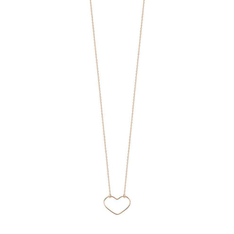 Vanrycke Angie Small Heart Outline Necklace 18ct Rose Gold