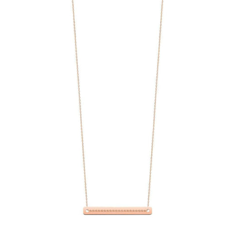 Vanrycke Bonnie and Clyde Plain Bar Necklace 18ct Rose Gold
