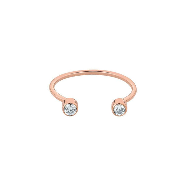 Vanrycke Mademoiselle Else Twin Diamond Ring 18ct Rose Gold