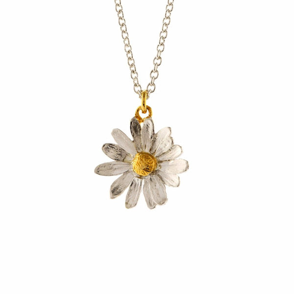 Alex Monroe Little Daisy Necklace, Silver& Gold Plat