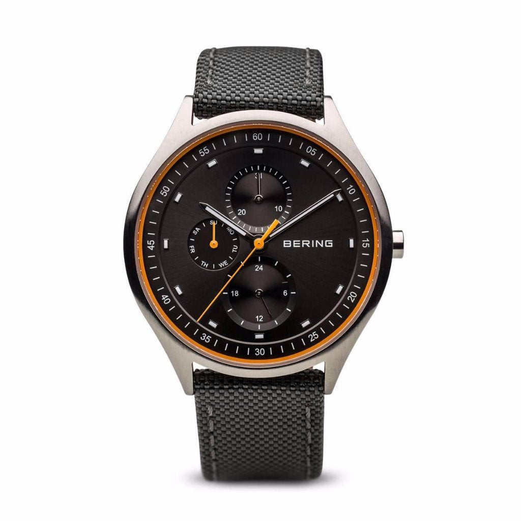 Bering Gents Titanium Watch w multi dial, orange strap