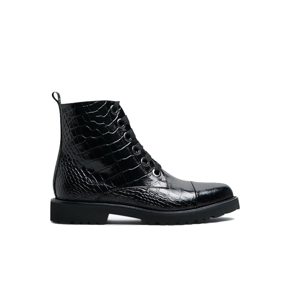 Department of Finery Black Croc Sidney Boots