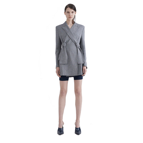 Dion Lee Linen Denim Lapel Knot Dress