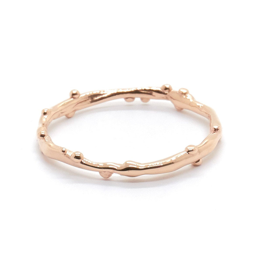 Dotted Organic Band Rose Gold